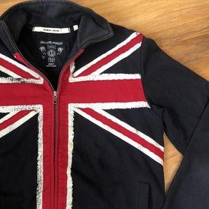 Guess Jeans Vintage Zip Up British Flag Sweatshirt